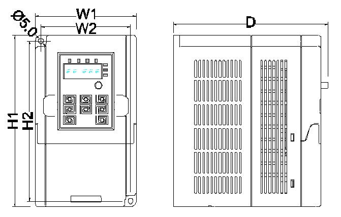 Frekvenční měnič GD10 - rozměry